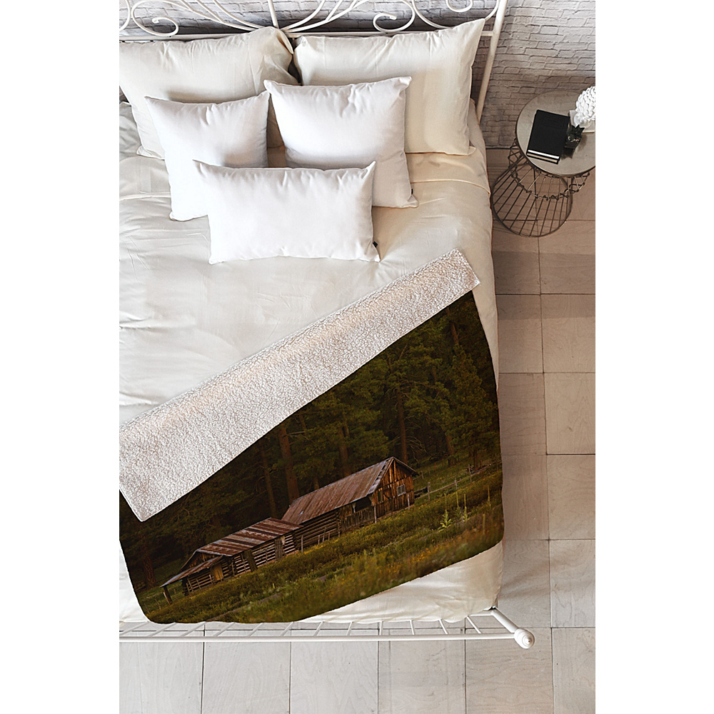 Deny Designs Barbara Sherman Sherpa Fleece Blanket Wood - Peaceful Ranch - Deny Designs Travel Pillows & Blankets