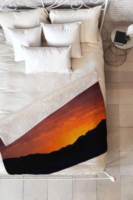 DENY Designs Barbara Sherman  Sherpa Fleece Blanket Sunset Orange - Sunset Glory - DENY Designs Travel Pillows & Blankets