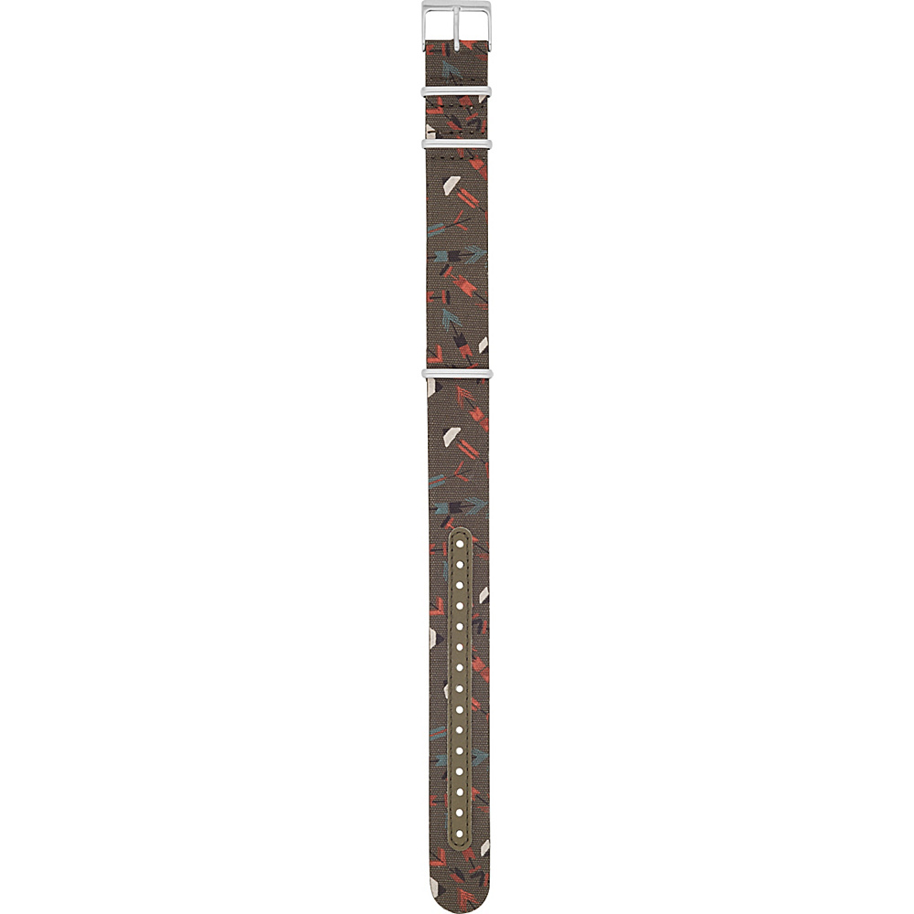 Fossil 18mm Leather and Canvas Watch Strap Green - Fossil Watches - Fashion Accessories, Watches
