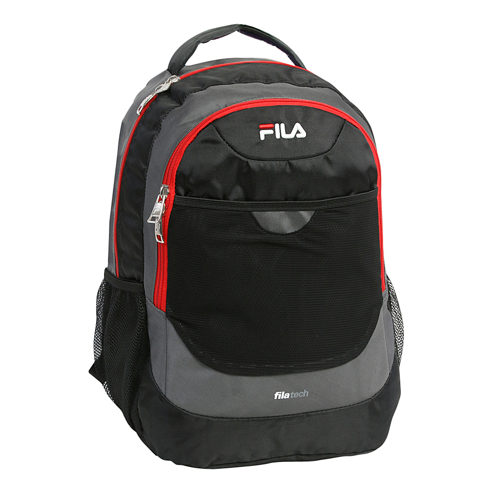 Fila Colton Tablet and Laptop School Backpack Black Red Fila Everyday Backpacks