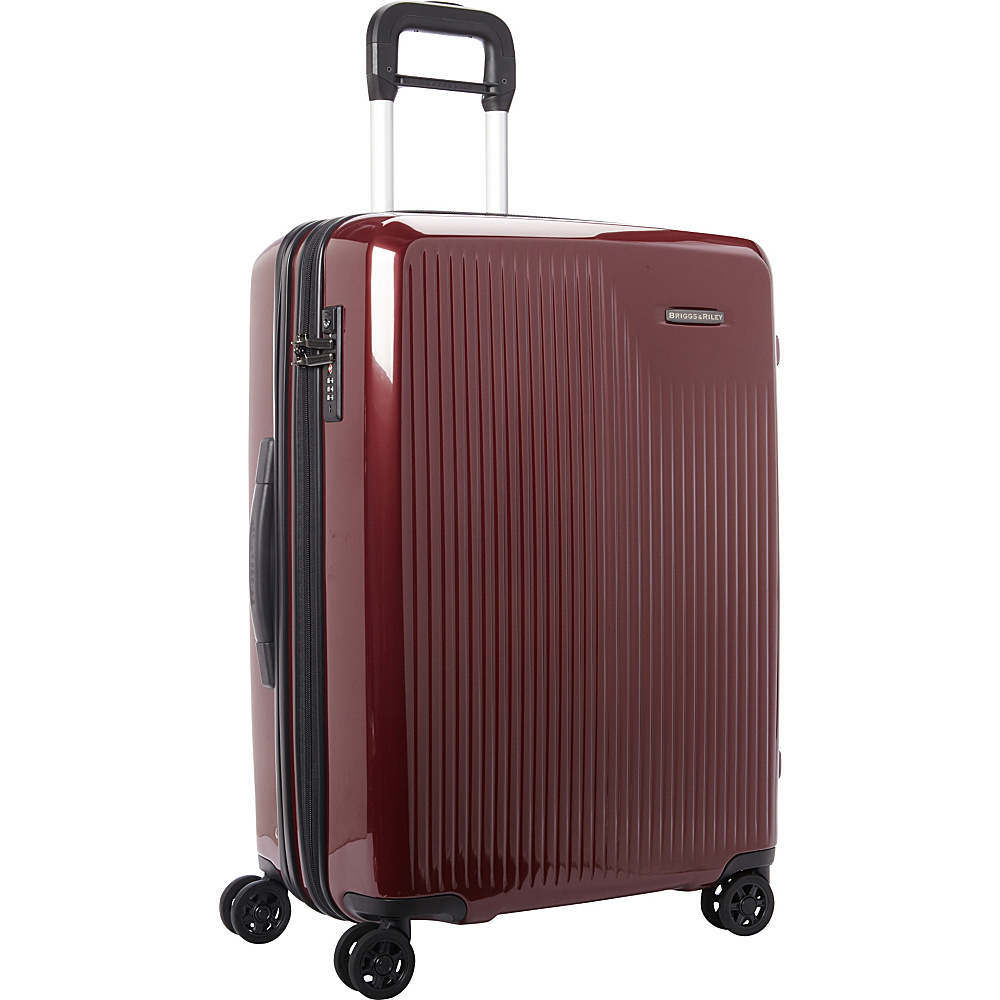 Briggs & Riley Sympatico CX Medium Expandable Spinner Burgundy - Briggs & Riley Hardside Checked