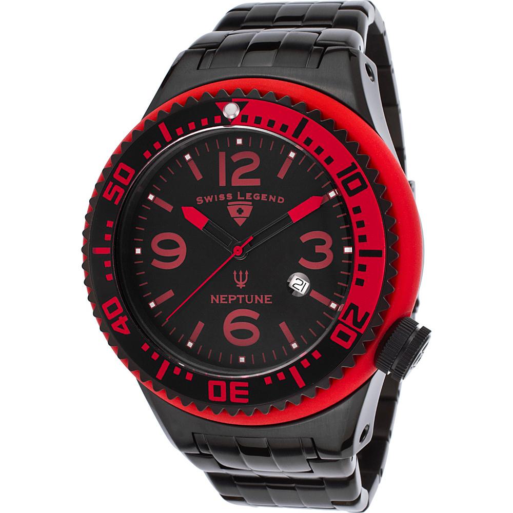 Swiss Legend Watches Neptune Stainless Steel Watch Black/Red/Red - Swiss Legend Watches Watches