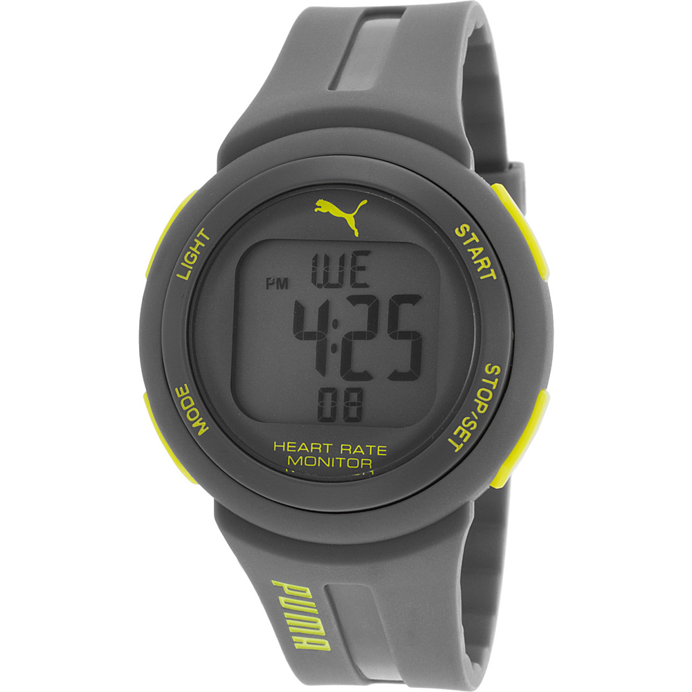 Puma Watches Grey Rubber Digital Dial Neon Yellow Accent Watch Grey - Puma Watches Watches