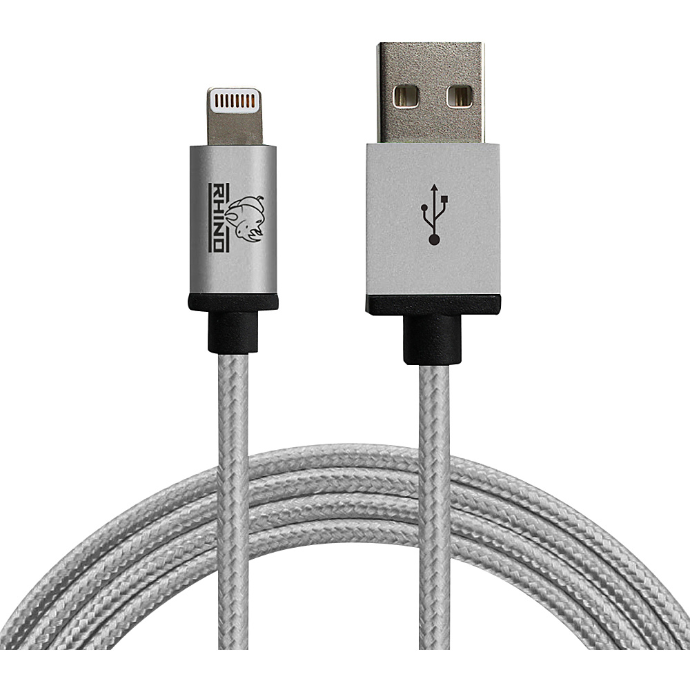 Rhino Paracord Sync Charge 2 meter MFI Lightning Cable Grey Rhino Electronic Accessories
