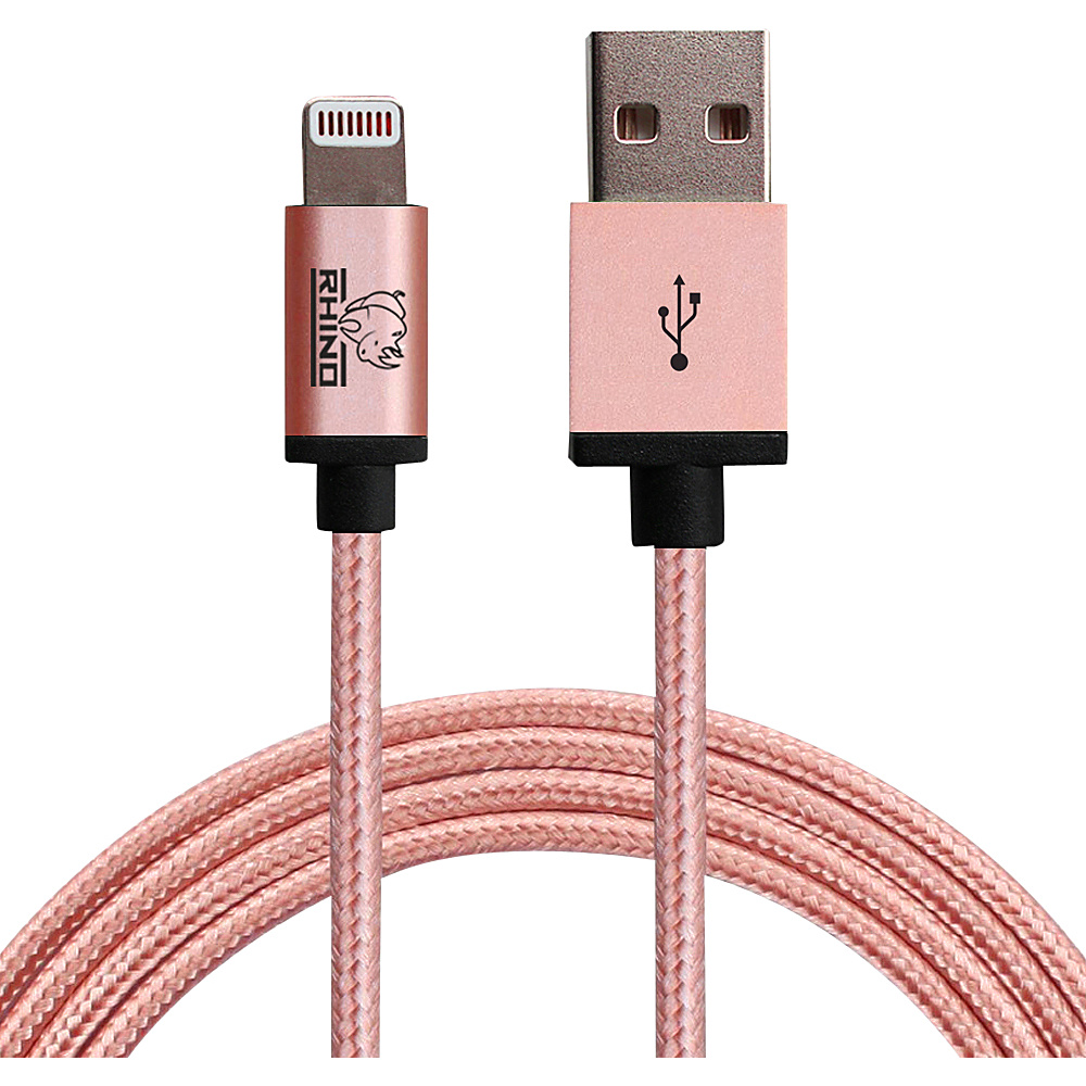 Rhino Paracord Sync Charge 2 meter MFI Lightning Cable Rose Gold Rhino Electronic Accessories