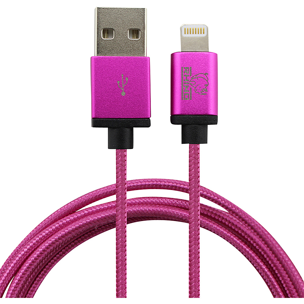 Rhino Paracord Sync Charge 2 meter MFI Lightning Cable Fuchsia Pink Rhino Electronic Accessories
