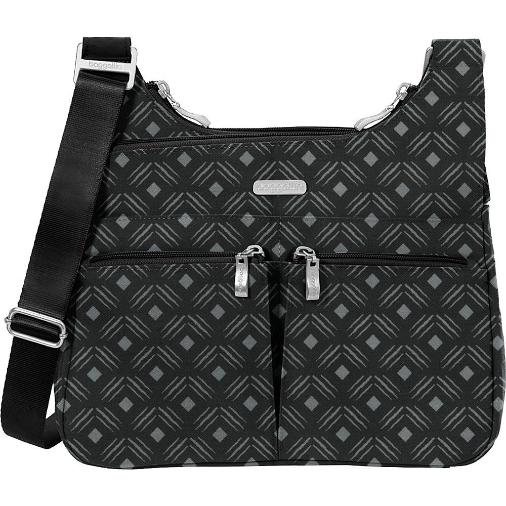baggallini Cross Over Crossbody Black Diamond Print - baggallini Fabric Handbags - Handbags, Fabric Handbags