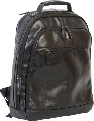 Boconi Becker RFID City Pack Black w/ Khaki and Gingham - Boconi Business & Laptop Backpacks