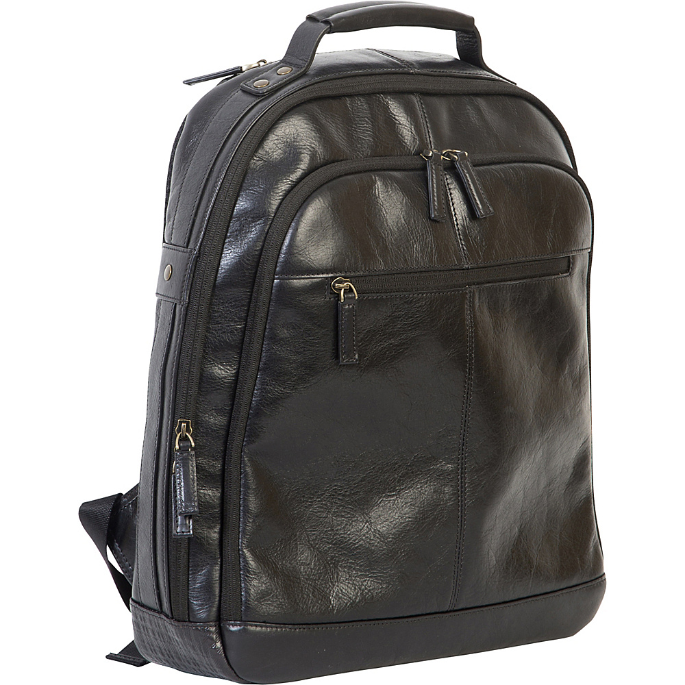 Boconi Becker RFID City Pack Black w Khaki and Gingham Boconi Business Laptop Backpacks