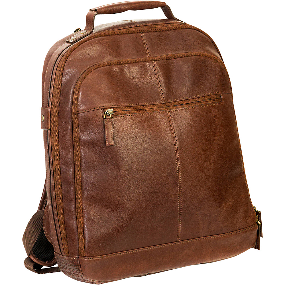 Boconi Becker RFID City Pack Whiskey w Khaki and Gingham Boconi Business Laptop Backpacks