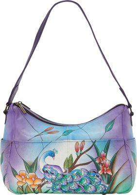 ANNA by Anuschka Hand Painted Leather Twin Top East West Hobo Midnight Peacock - ANNA by Anuschka Leather Handbags