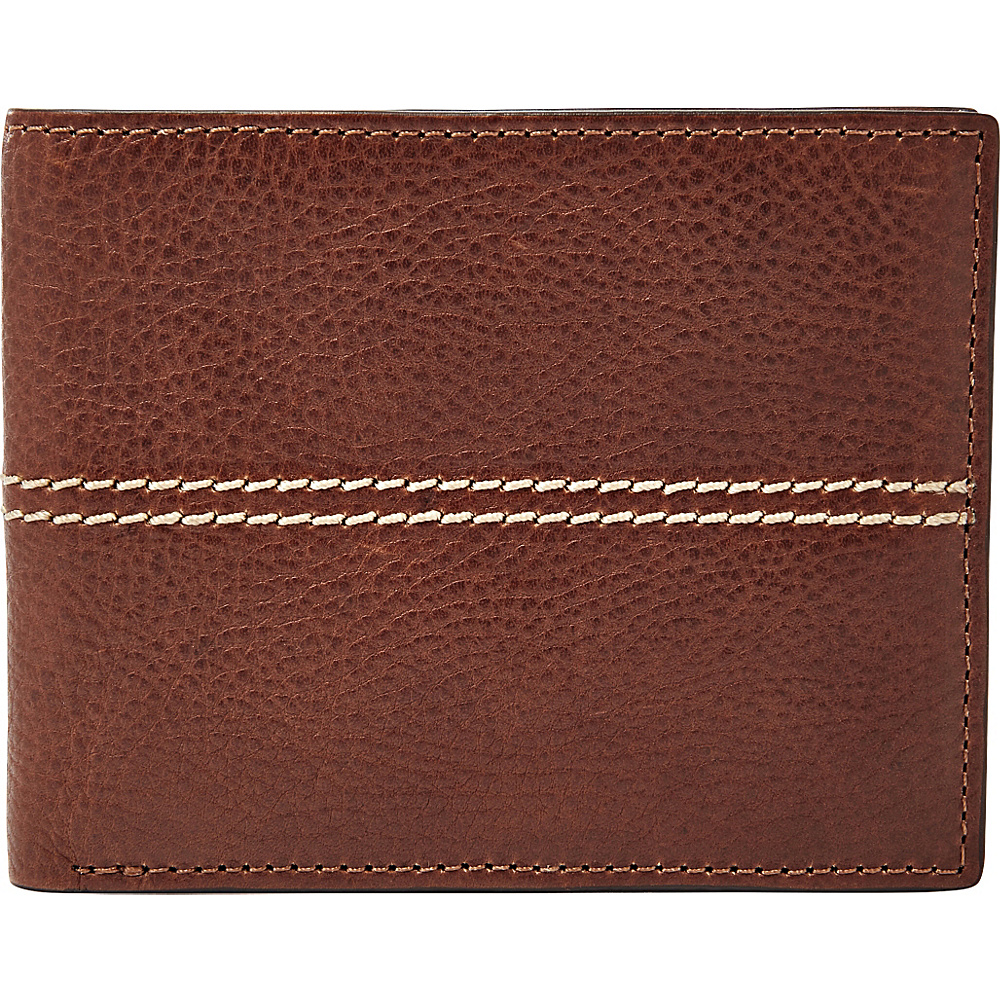 Fossil Turk RFID L-Zip Bifold Brown - Fossil Mens Wallets - Work Bags & Briefcases, Men's Wallets