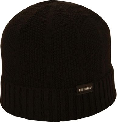 Ben Sherman Textured Beanie with Rib Knit Cuff One Size - Black - Ben Sherman Hats/Gloves/Scarves