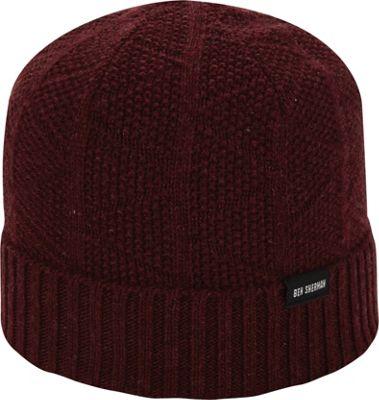 Ben Sherman Textured Beanie with Rib Knit Cuff Dark Port - Ben Sherman Hats/Gloves/Scarves