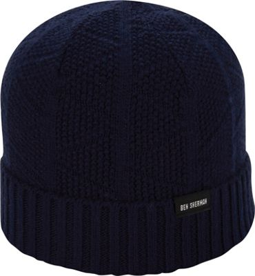 Ben Sherman Textured Beanie with Rib Knit Cuff One Size - Staples Navy - Ben Sherman Hats/Gloves/Scarves 10471973