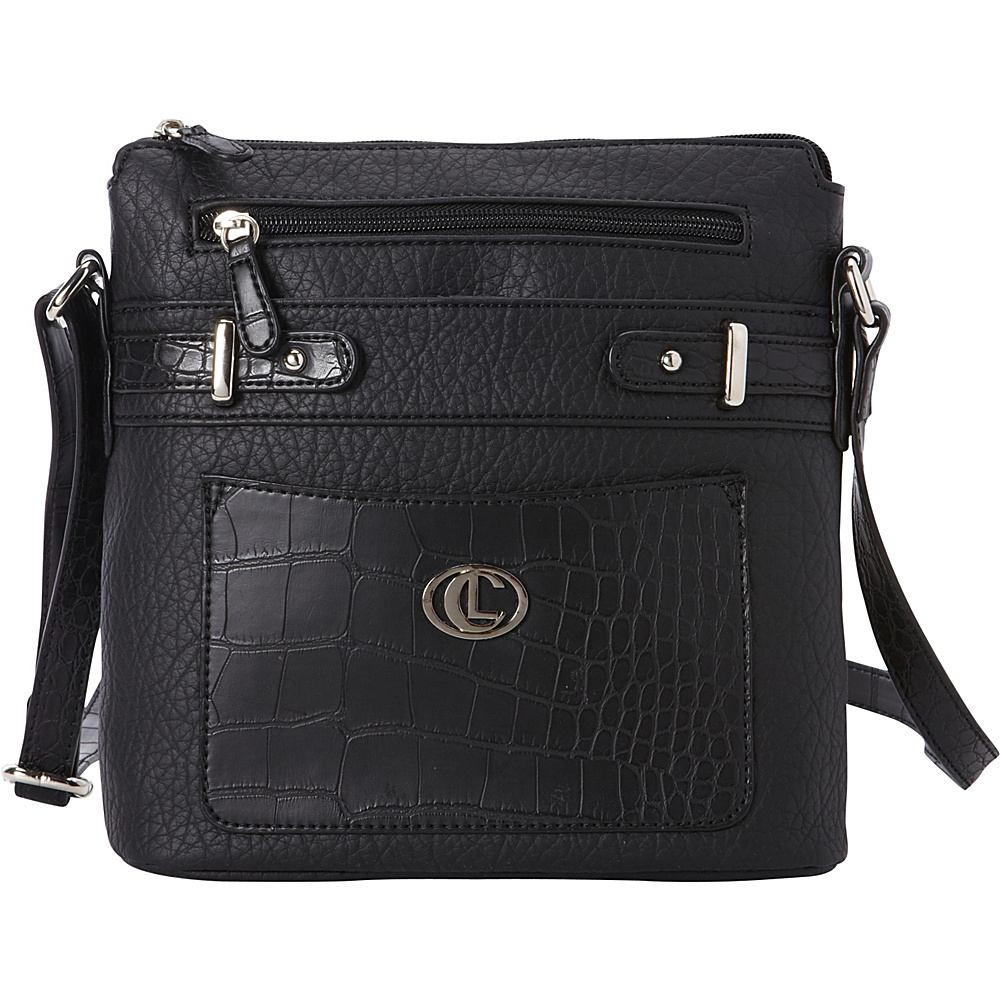 Aurielle Carryland Croco Belting North South Crossbody Black Aurielle Carryland Manmade Handbags