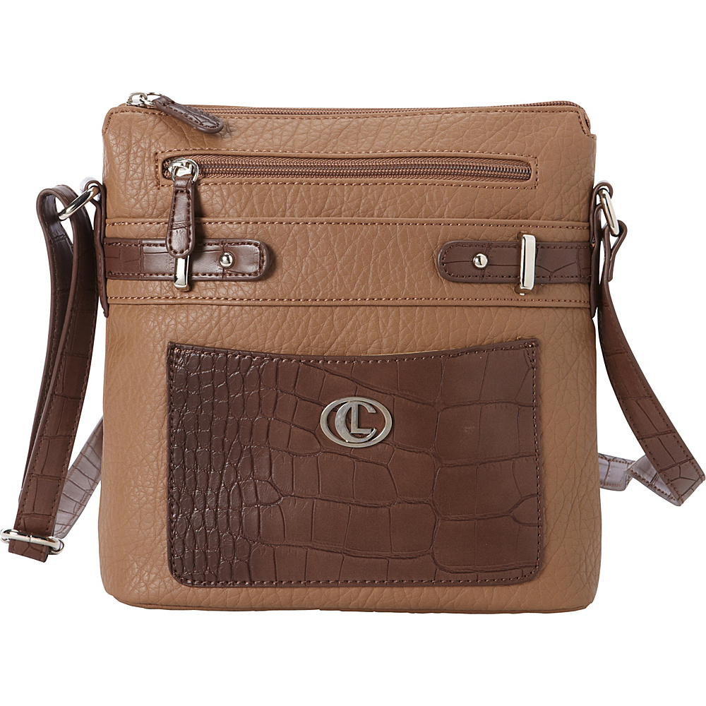 Aurielle Carryland Croco Belting North South Crossbody Sand Brown Aurielle Carryland Manmade Handbags