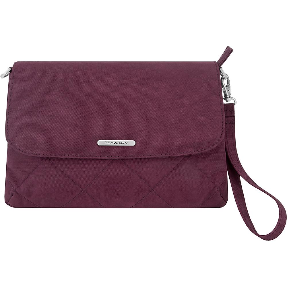 Travelon Anti-Theft Convertible Crossbody Clutch - Exclusive Dark Bordeaux/Sand - Travelon Fabric Handbags - Handbags, Fabric Handbags