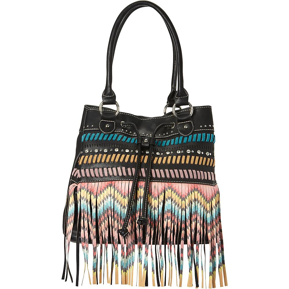 Montana West Fringe Concealed Handgun Hobo Bag Black Montana West Manmade Handbags