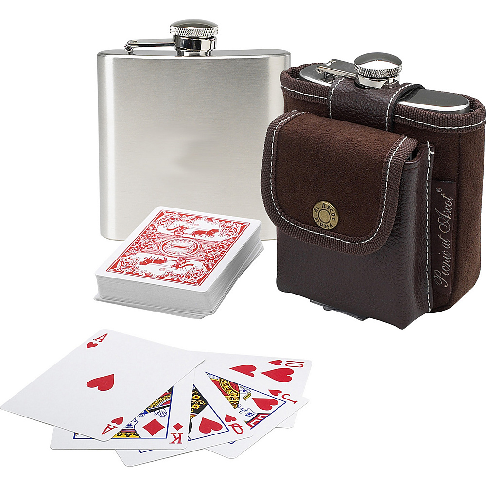 Picnic at Ascot Travel Hip Flask with Playing Cards and Case Brown - Picnic at Ascot Outdoor Accessories - Outdoor, Outdoor Accessories