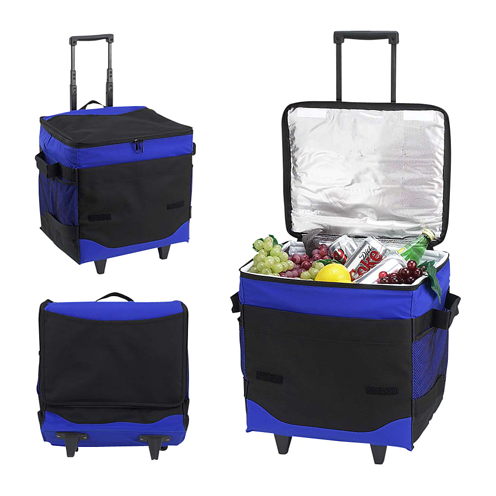 Picnic at Ascot 32 Can Collapsible Rolling Insulated Cooler Royal Blue - Picnic at Ascot Outdoor Coolers - Outdoor, Outdoor Coolers
