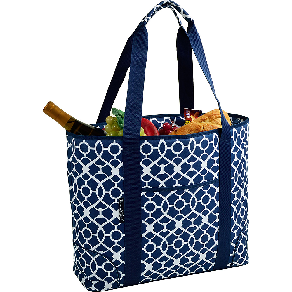 Picnic at Ascot Extra Large Insulated Cooler Bag - 30 Can Tote Trellis Blue - Picnic at Ascot Outdoor Coolers - Outdoor, Outdoor Coolers