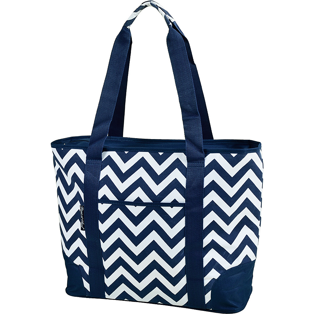 Picnic at Ascot Extra Large Insulated Cooler Bag - 30 Can Tote Blue Chevron - Picnic at Ascot Travel Coolers