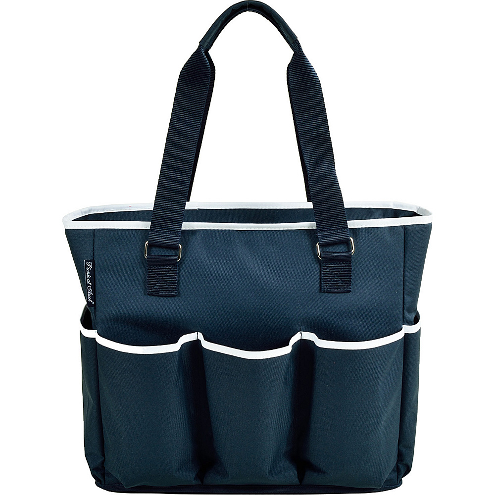 Picnic at Ascot Large Insulated Multi Pocketed Travel Bag with 6 exterior pockets Navy/White - Picnic at Ascot Outdoor Coolers - Outdoor, Outdoor Coolers