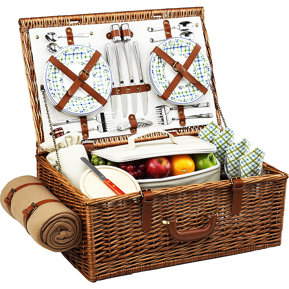 Picnic at Ascot Dorset English-Style Willow Picnic Basket with Service for 4 and Blanket Wicker w/Gazebo - Picnic at Ascot Outdoor Accessories - Outdoor, Outdoor Accessories