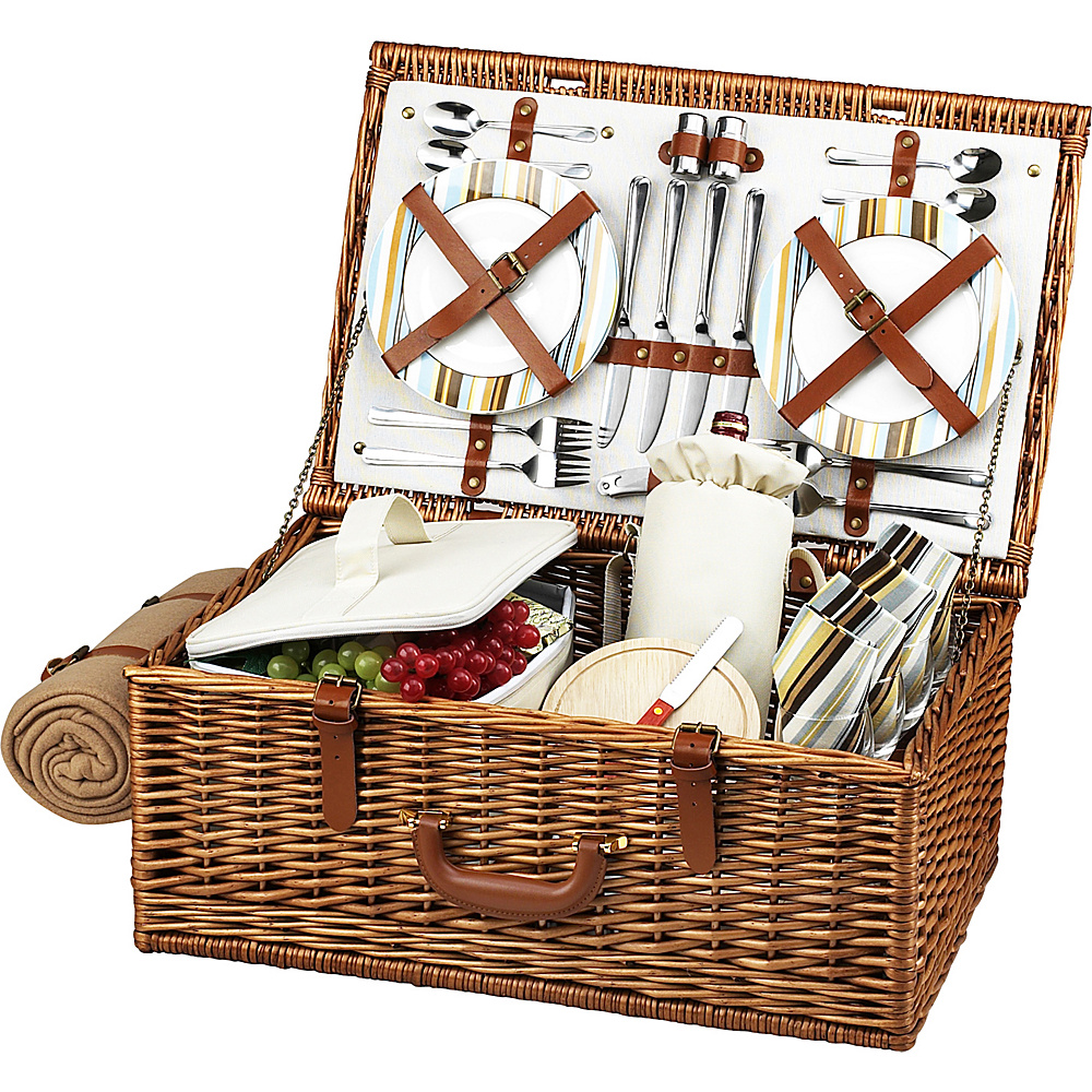 Picnic at Ascot Dorset English-Style Willow Picnic Basket with Service for 4 and Blanket Wicker w/Santa Cruz - Picnic at Ascot Outdoor Accessories - Outdoor, Outdoor Accessories