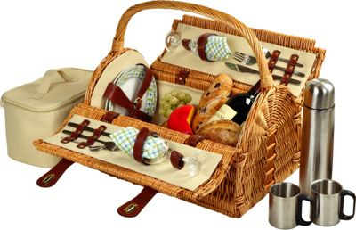 Picnic at Ascot Sussex Willow Picnic Basket with Service for 2 with Coffee Set Wicker w/Gazebo - Picnic at Ascot Outdoor Accessories
