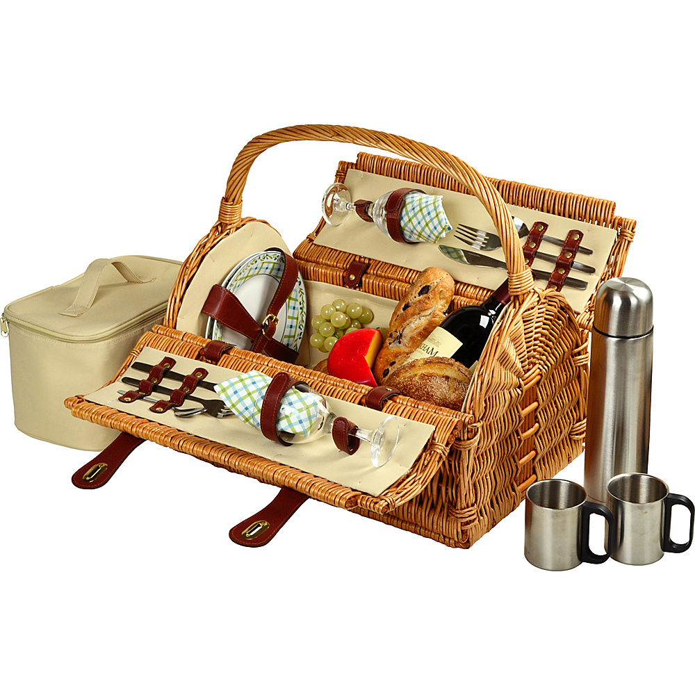 Picnic at Ascot Sussex Willow Picnic Basket with Service for 2 with Coffee Set Wicker w/Gazebo - Picnic at Ascot Outdoor Accessories - Outdoor, Outdoor Accessories