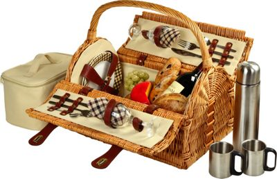 Picnic at Ascot Sussex Willow Picnic Basket with Service for 2 with Coffee Set Wicker w/London - Picnic at Ascot Outdoor Accessories
