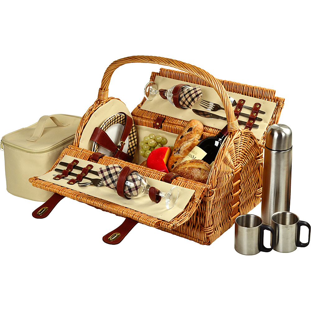 Picnic at Ascot Sussex Willow Picnic Basket with Service for 2 with Coffee Set Wicker w/London - Picnic at Ascot Outdoor Accessories - Outdoor, Outdoor Accessories