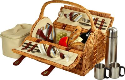 Picnic at Ascot Sussex Willow Picnic Basket with Service for 2 with Coffee Set Wicker w/Santa Cruz - Picnic at Ascot Outdoor Accessories