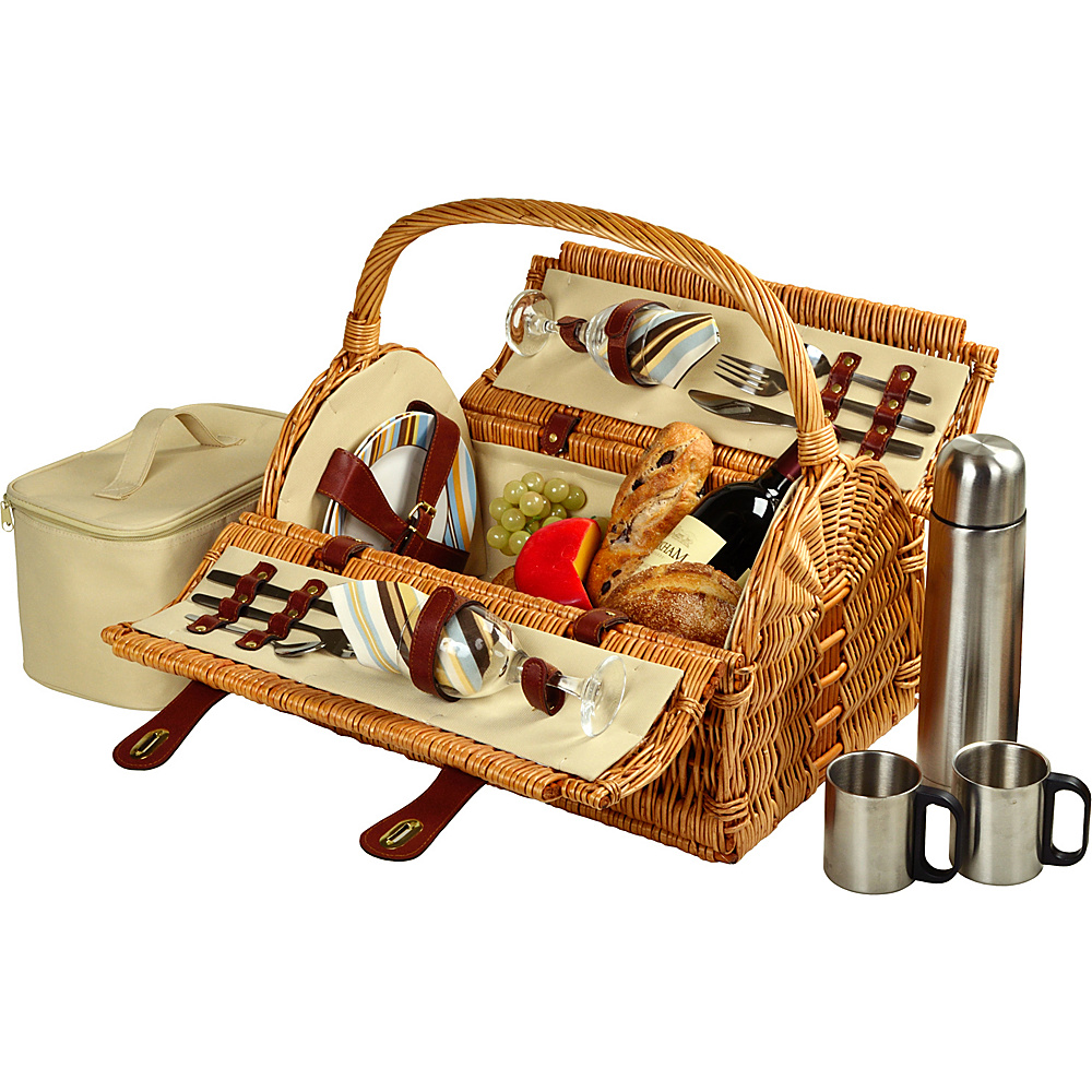 Picnic at Ascot Sussex Willow Picnic Basket with Service for 2 with Coffee Set Wicker w/Santa Cruz - Picnic at Ascot Outdoor Accessories - Outdoor, Outdoor Accessories