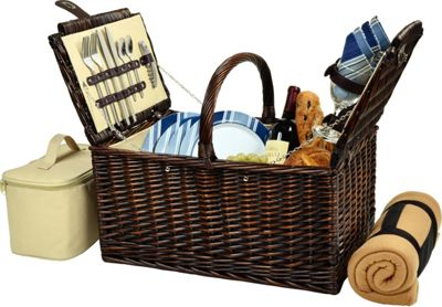 Picnic at Ascot Buckingham Picnic Willow Picnic Basket with Service for 4 with Blanket Brown Wicker/Blue Stripe - Picnic at Ascot Outdoor Accessories