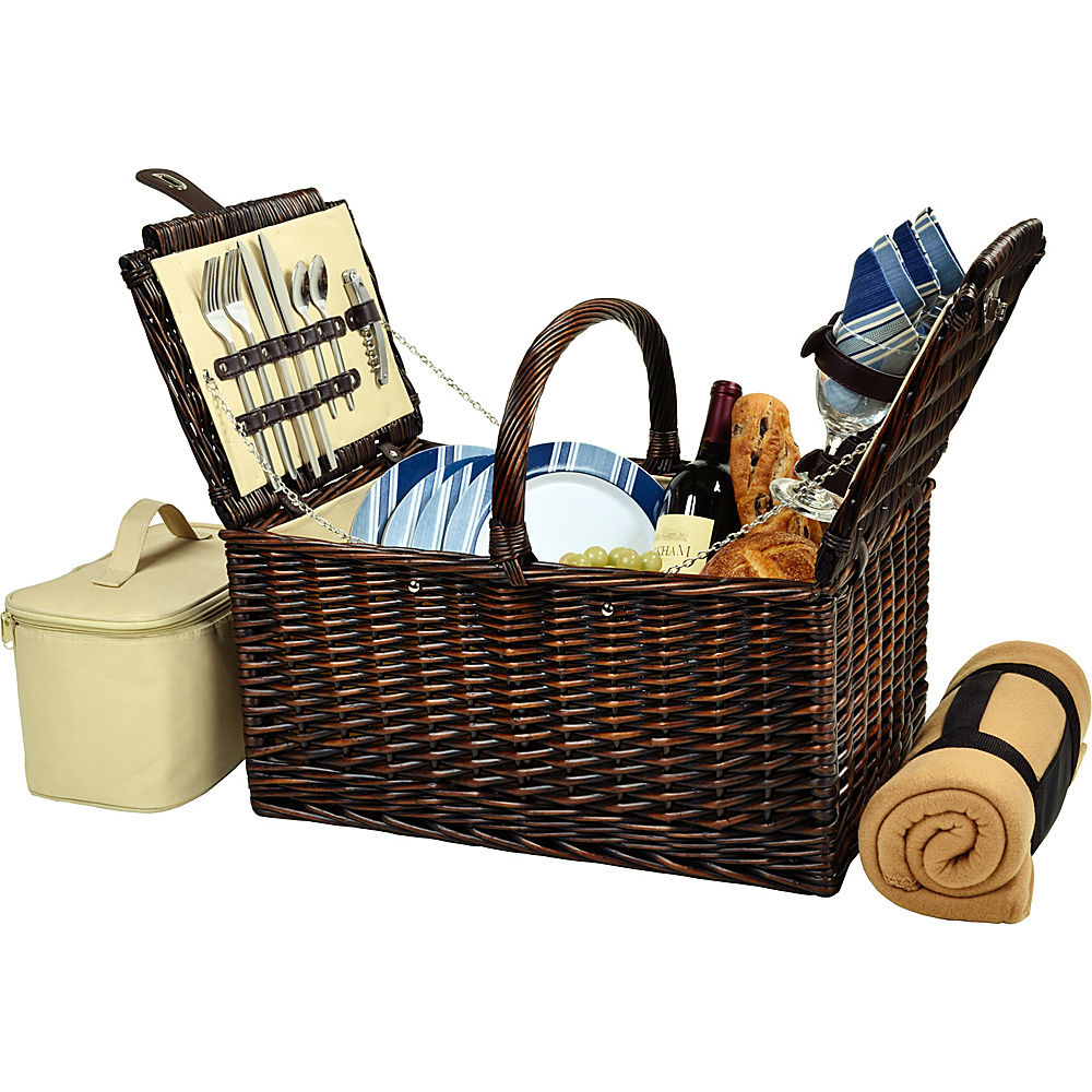 Picnic at Ascot Buckingham Picnic Willow Picnic Basket with Service for 4 with Blanket Brown Wicker/Blue Stripe - Picnic at Ascot Outdoor Accessories - Outdoor, Outdoor Accessories