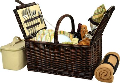 Picnic at Ascot Buckingham Picnic Willow Picnic Basket with Service for 4 with Blanket Brown Wicker/Hamptons - Picnic at Ascot Outdoor Accessories