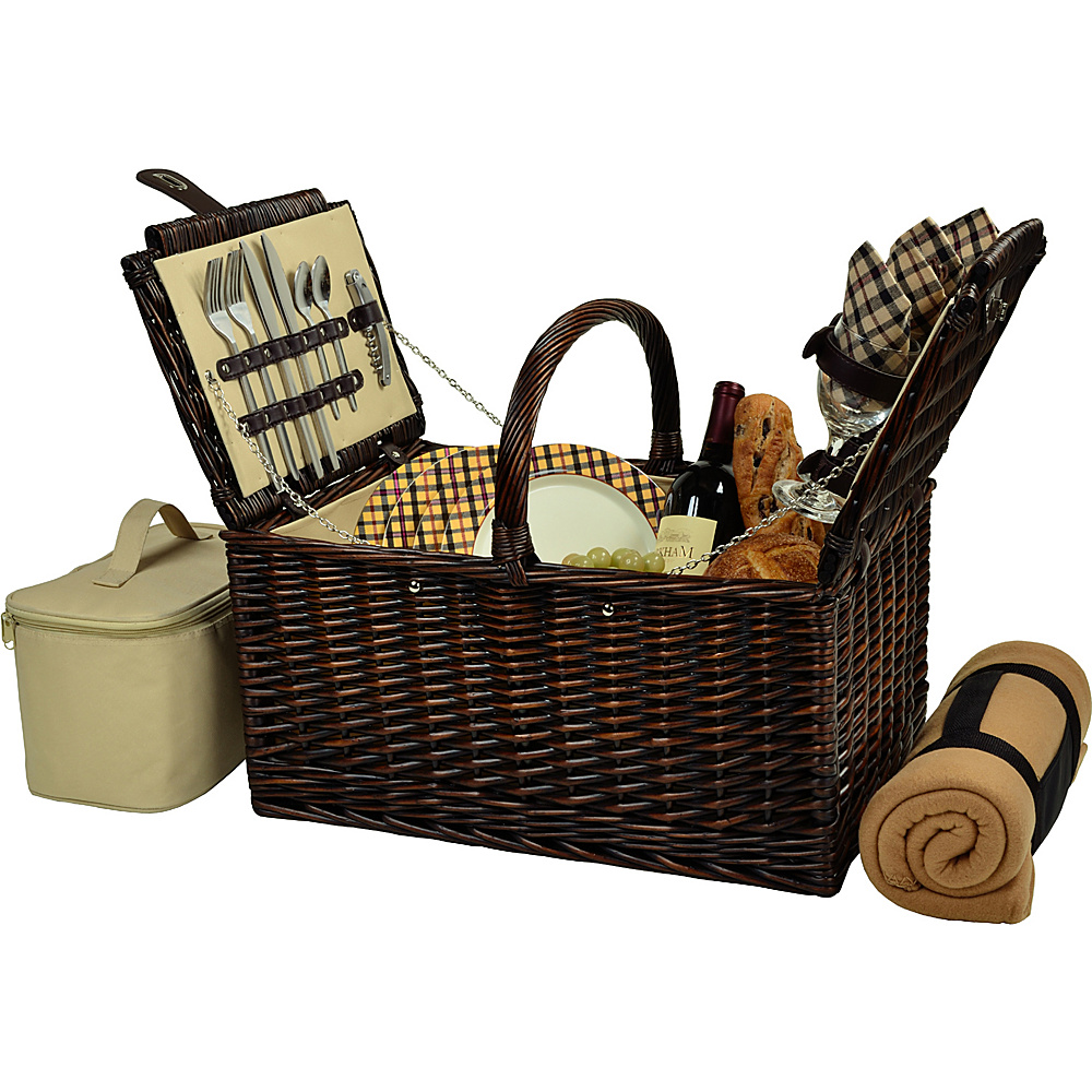 Picnic at Ascot Buckingham Picnic Willow Picnic Basket with Service for 4 with Blanket Brown Wicker/London Plaid - Picnic at Ascot Outdoor Accessories - Outdoor, Outdoor Accessories