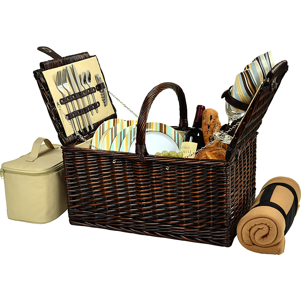 Picnic at Ascot Buckingham Picnic Willow Picnic Basket with Service for 4 with Blanket Brown Wicker/Santa Cruz - Picnic at Ascot Outdoor Accessories - Outdoor, Outdoor Accessories