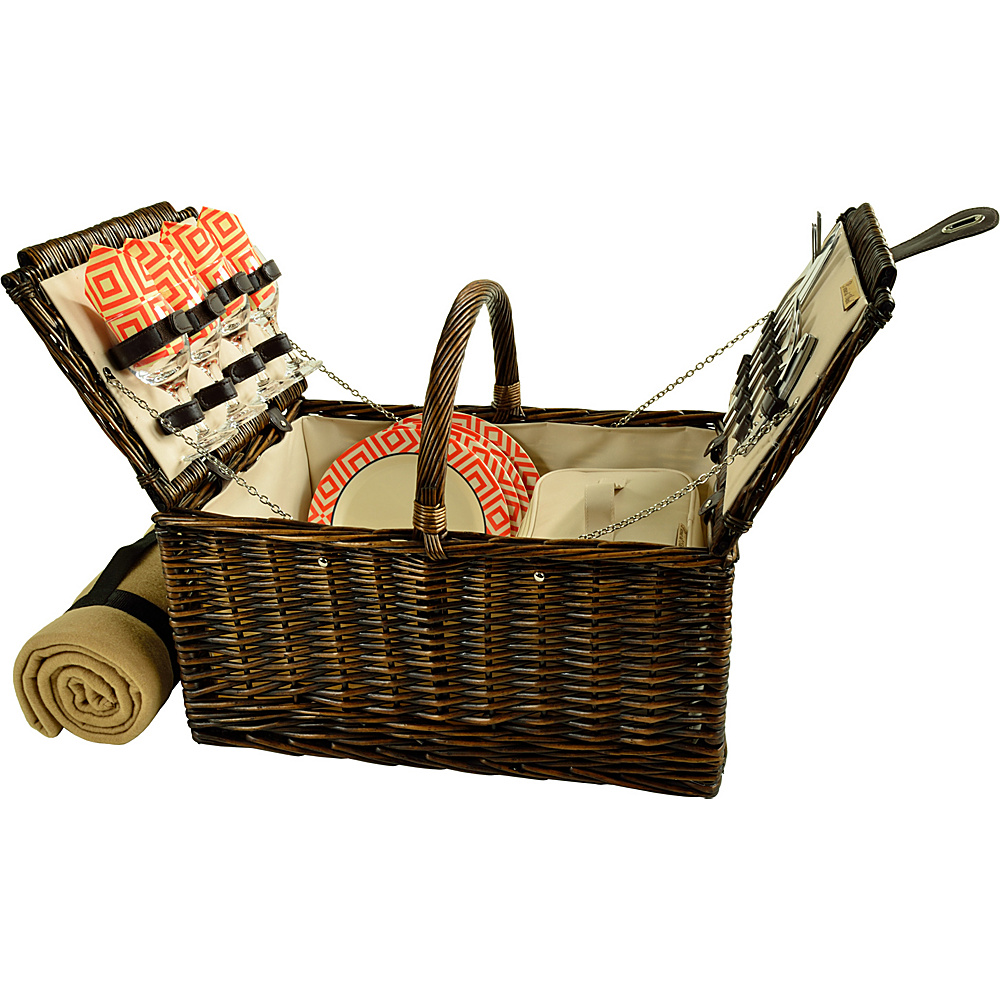 Picnic at Ascot Buckingham Picnic Willow Picnic Basket with Service for 4 with Blanket Brown Wicker/Diamond Orange - Picnic at Ascot Outdoor Accessories - Outdoor, Outdoor Accessories