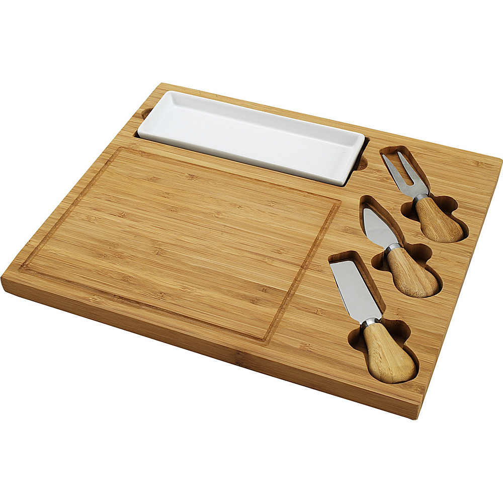 Picnic at Ascot Celtic Bamboo Cheese Board Set with Ceramic Dish and 3 Cheese Tools Bamboo - Picnic at Ascot Outdoor Accessories - Outdoor, Outdoor Accessories
