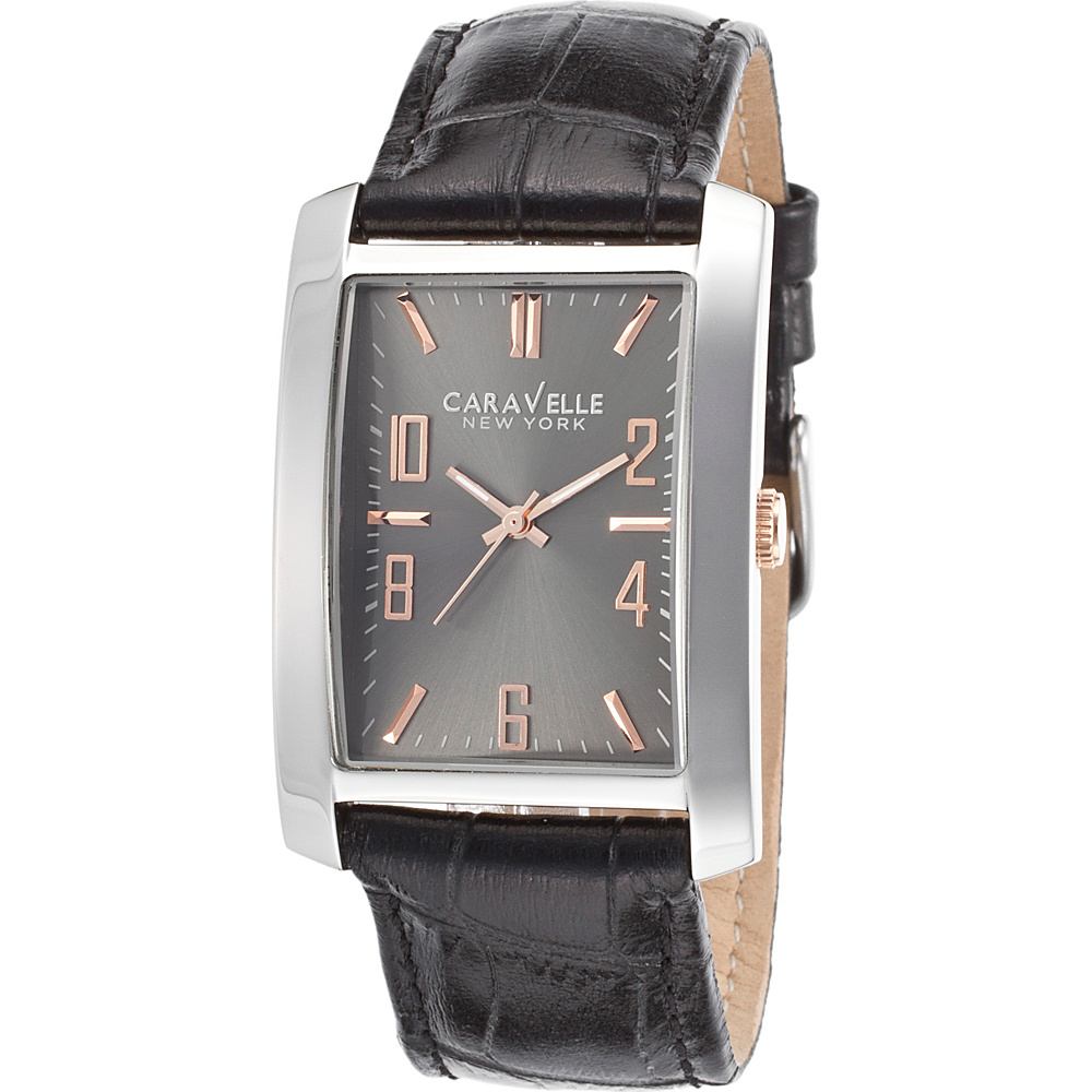 Caravelle New York Watches Mens Gunmetal Stainless Steel Leather Band Watch Black - Caravelle New York Watches Watches
