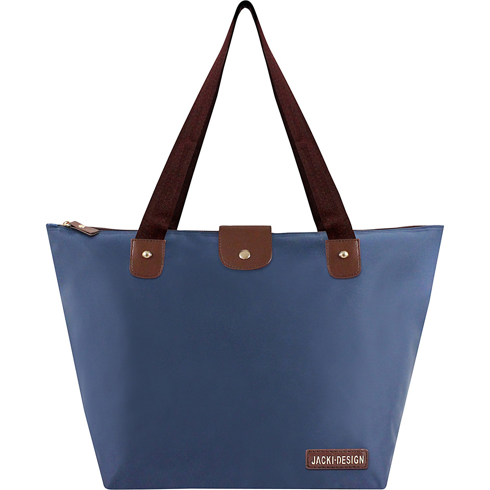 Jacki Design Essential Large Foldable Tote Bag Blue - Jacki Design Fabric Handbags
