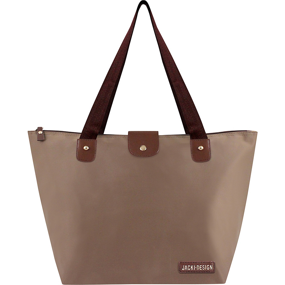 Jacki Design Essential Large Foldable Tote Bag Brown - Jacki Design Fabric Handbags