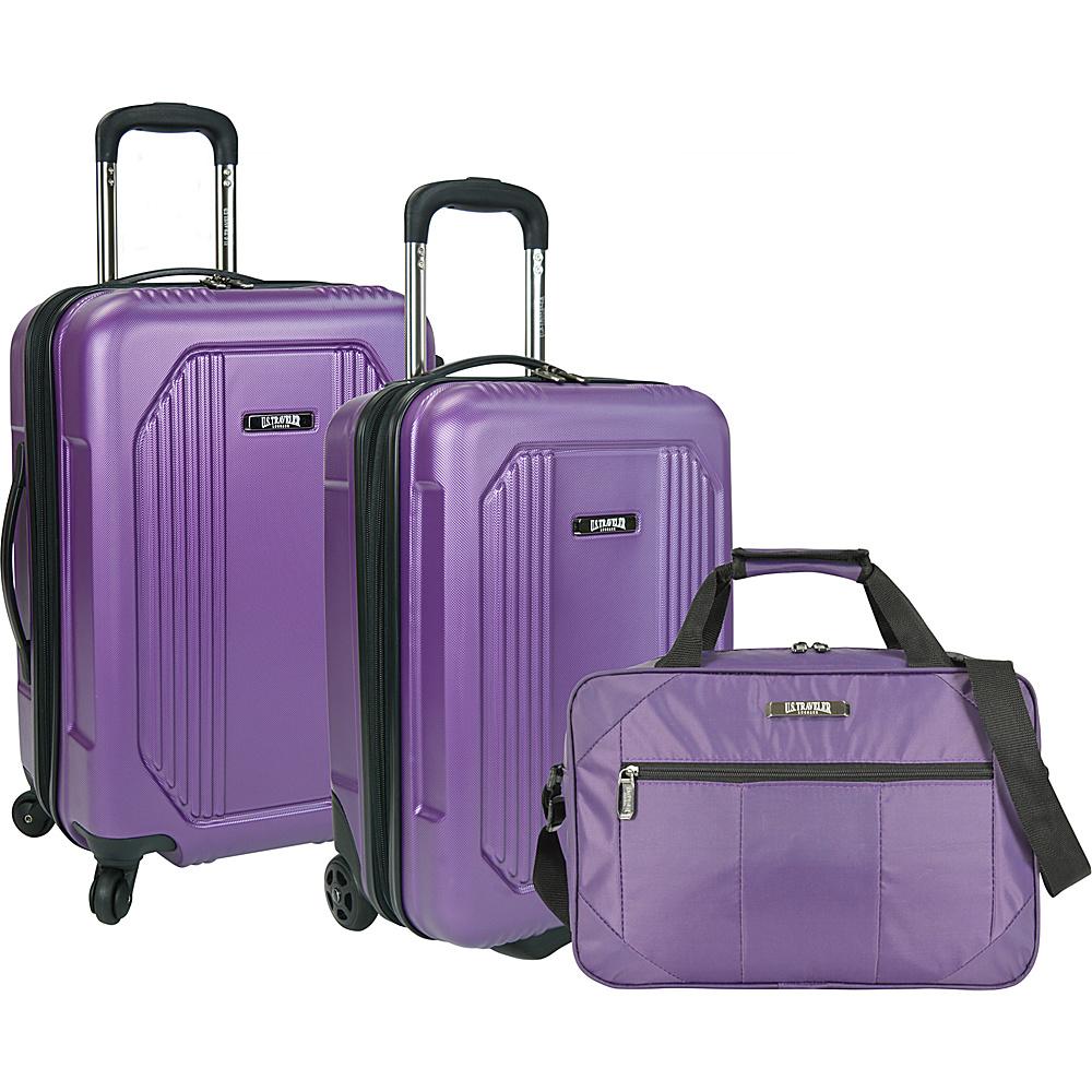 U.S. Traveler Bloomington 3 Piece Carry On Spinner Set Purple U.S. Traveler Luggage Sets