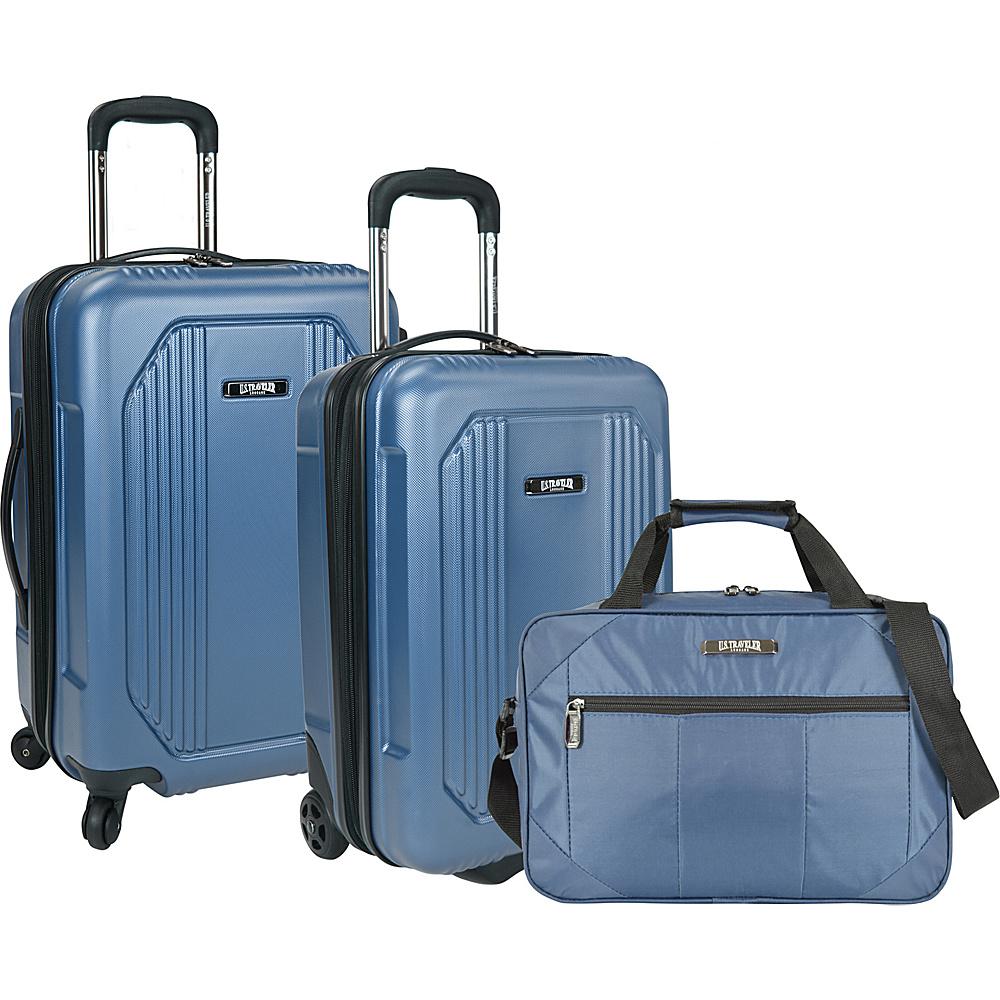 U.S. Traveler Bloomington 3 Piece Carry On Spinner Set Blue U.S. Traveler Luggage Sets