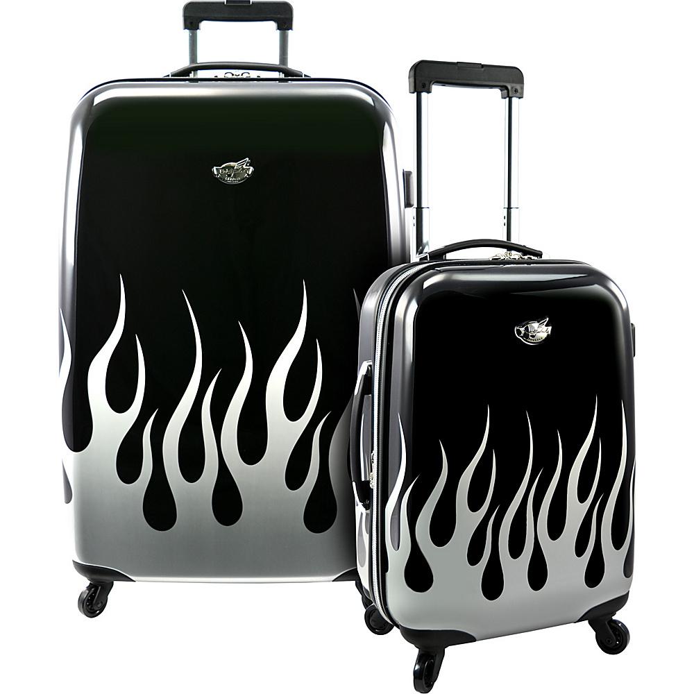 Bret Michaels Luggage Road Tour 2-Piece Hardsided Spinner Set Silver Flame - Bret Michaels Luggage Luggage Sets