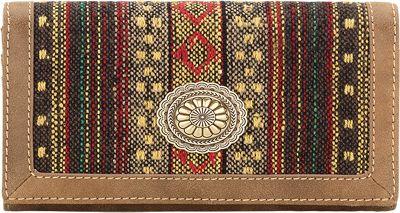 Bandana Serape Flap Wallet Medium Brown / Autumn Leaves - Bandana Women's Wallets